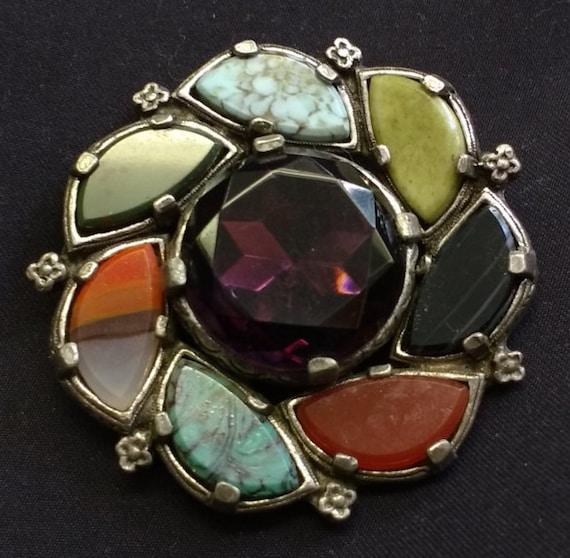 Vintage Semi Precious Stone Gemstone Flower Multi Coloured Brooch