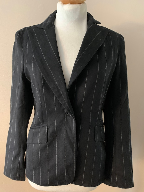 Vintage Zara black pinstriped BLazer  size 12 uk