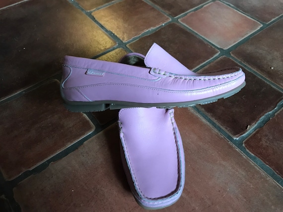 Vintage Ladies pink leather moccasins size uk 4/37