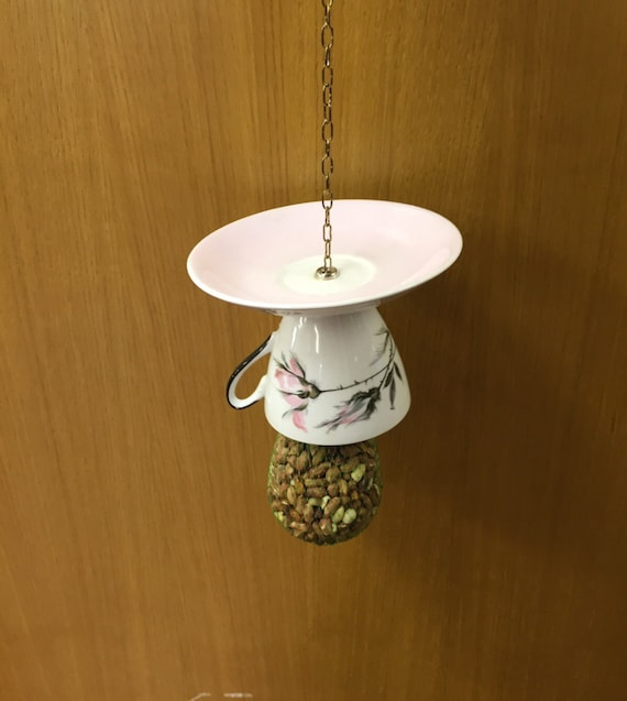 Vintage Teacup and Saucer Bird Feeder with chain to hang