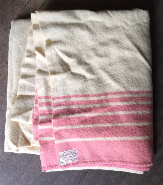 Stunning wool vintage pink and cream double blanket by Atkinson's Custodian