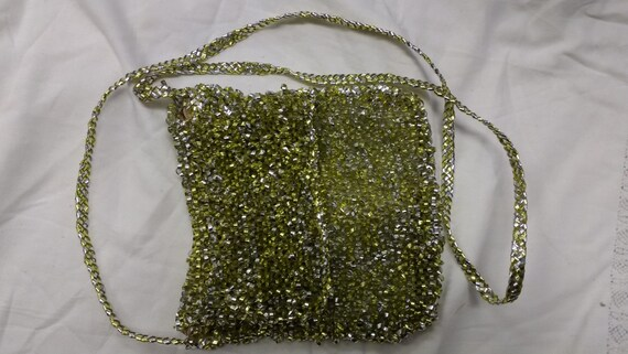 Vintage Knitted Silver and Gold Plastic Strips Bag