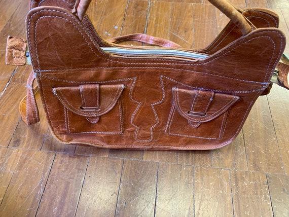 Retro 1970's vintage tan leather handbag