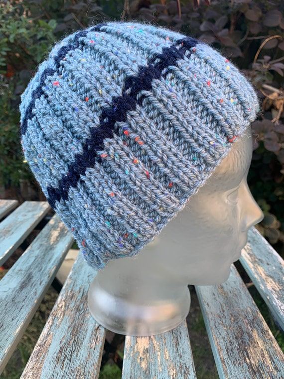 Hand knitted vintage winter wool beanie hat
