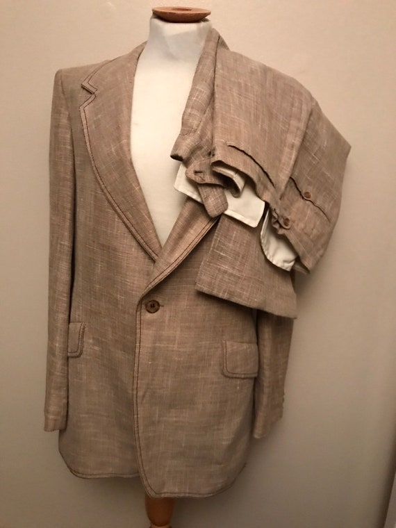 Mens 1960's two piece beige suit with brown edging made by Cue Austin Reed