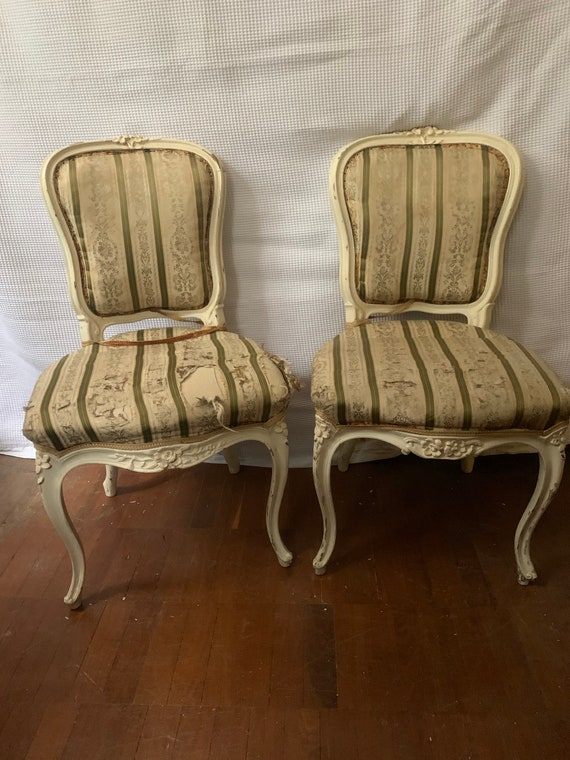 Pair of vintage french dining room, shabby chic project buyer to collect or arrange courier from CR04AA