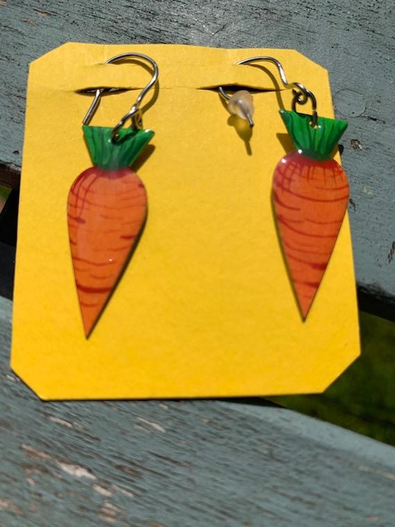 Handmade carrot earrings