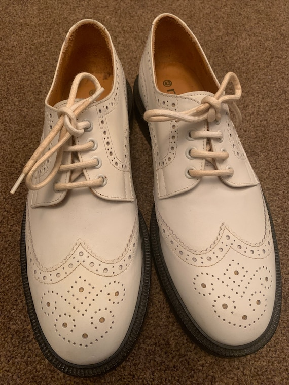 Vintage White Leather Brogues / Wingtip shoes size 43, UK 9