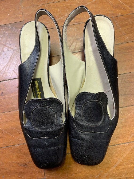 Vintage Mary Quant style sling back slip on shoes size 3/36