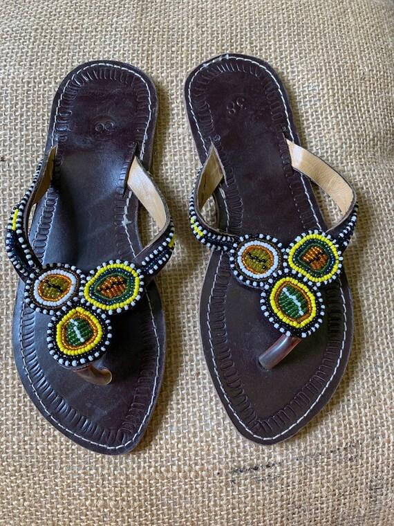 Vintage beaded leather flip flops size uk 5