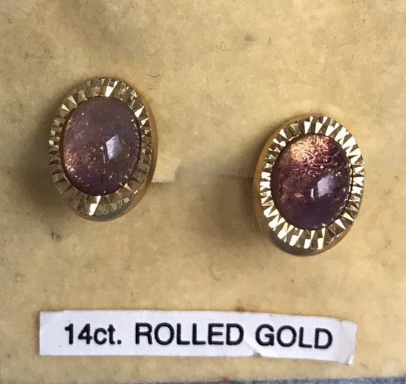 Rolled gold pink moonstone clip in earrings