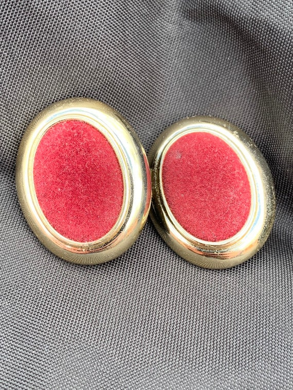 Vintage burgandy velvet  clip on earrings