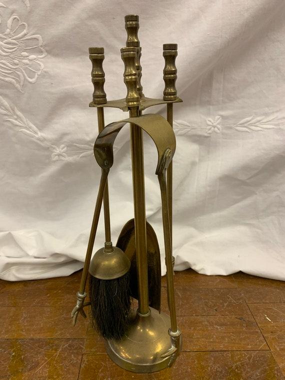 Vintage brass fire set