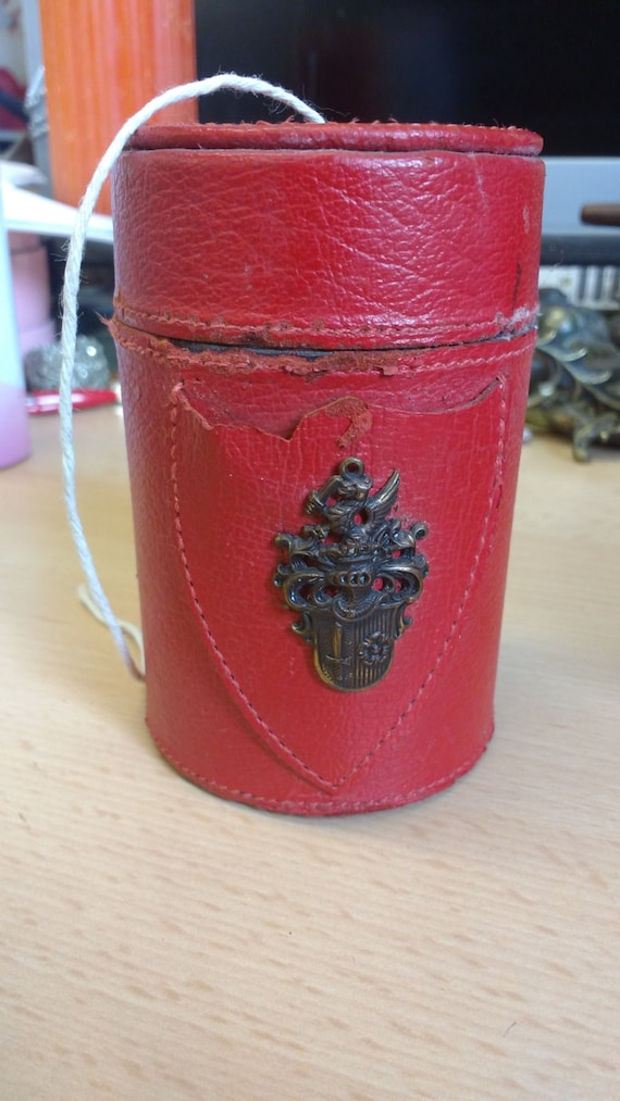 Vintage Red Leather Covered String Holder with Metal Crest