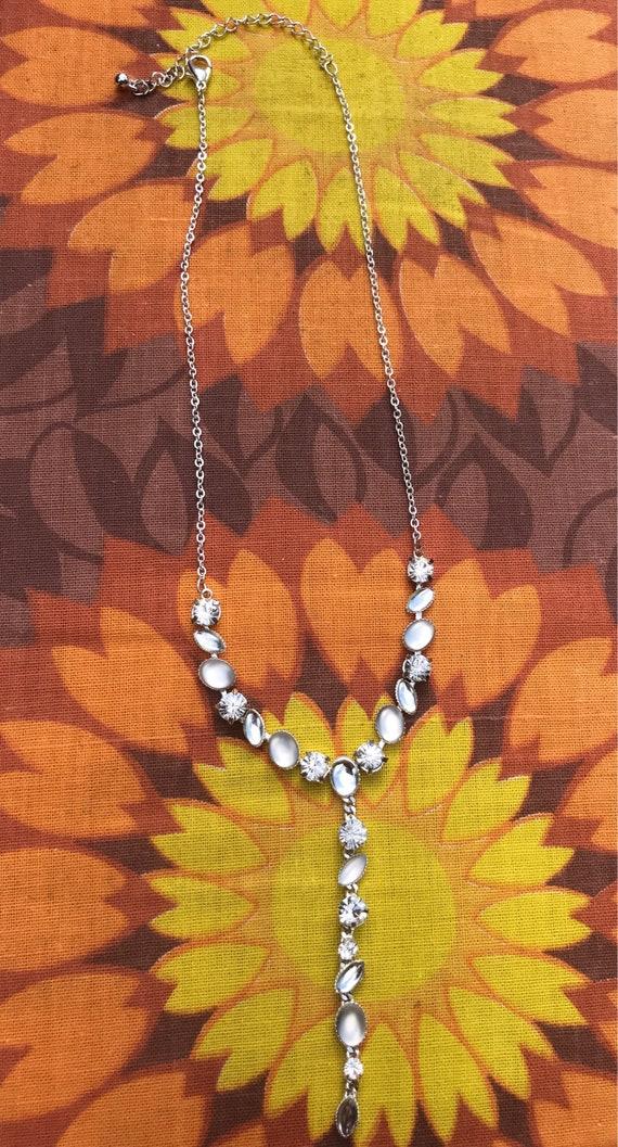 Moon stone and diamanté drop necklace