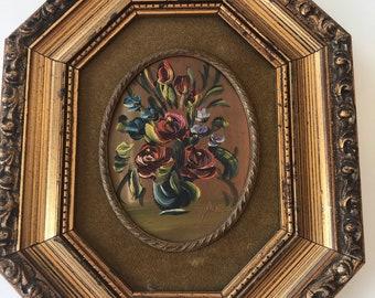 Vintage Framed floral oil painting