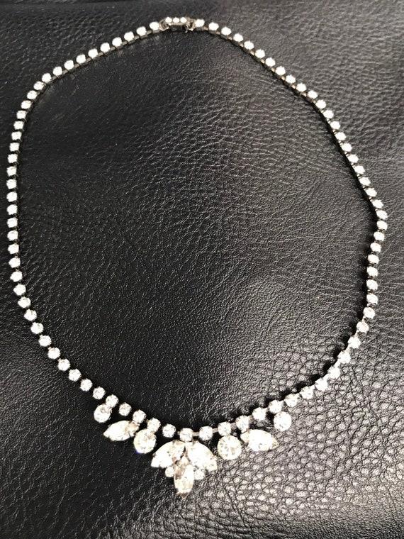 Vintage diamanté drop necklace