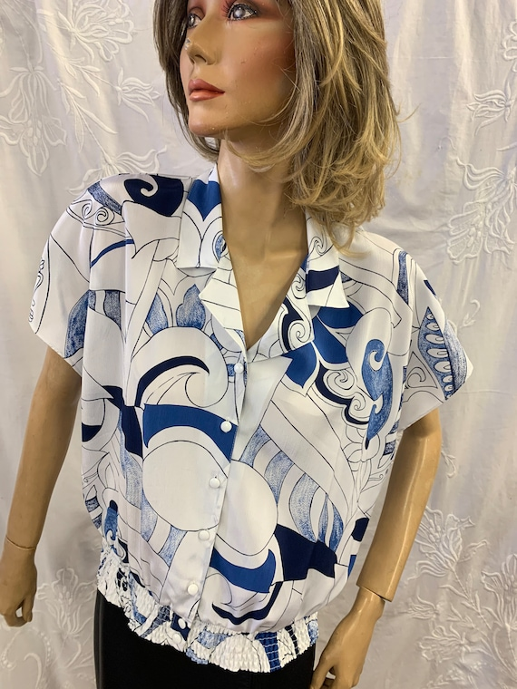Vintage Abstract print blue and white print shirt, by Canada for C & A. Size 16