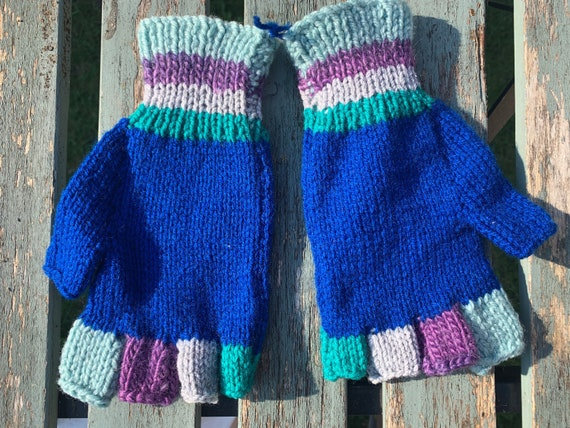 Hand knitted vintage fingerless gloves