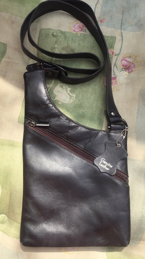 Brown Leather handbag- crossover style...
