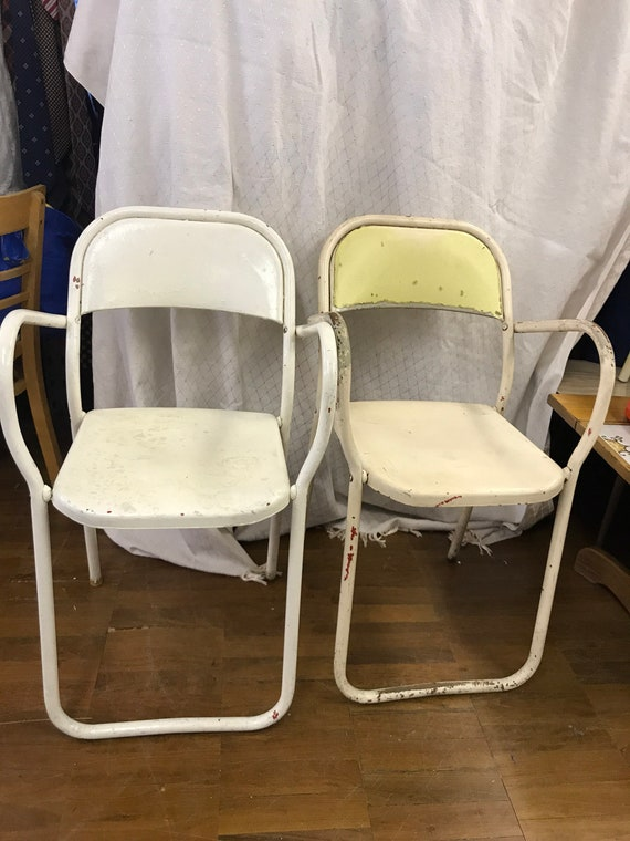 Two vintage/retro metal chairs