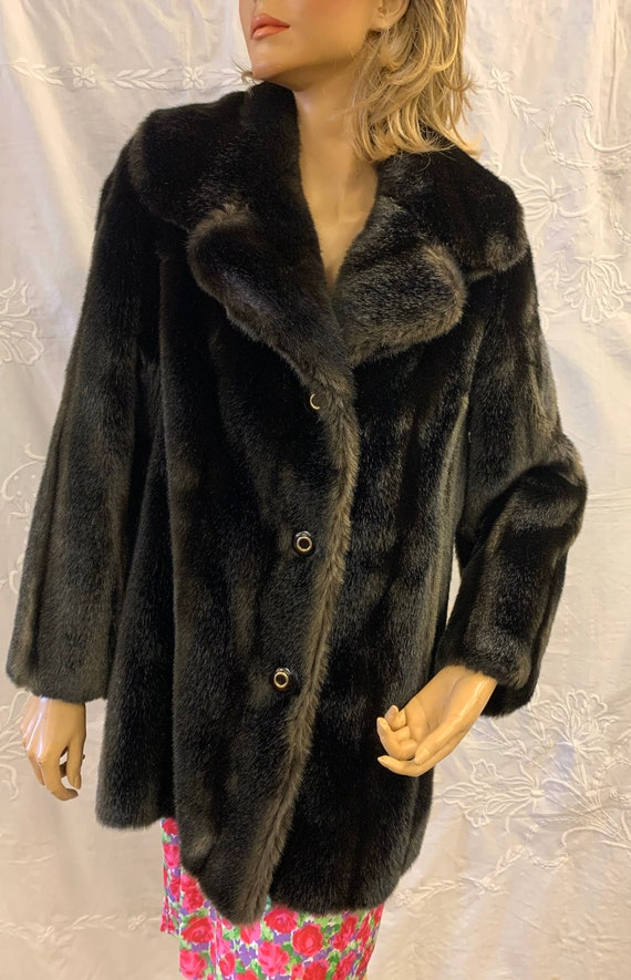 Vintage brown faux fur jacket by Tissavel in France. size 10-12