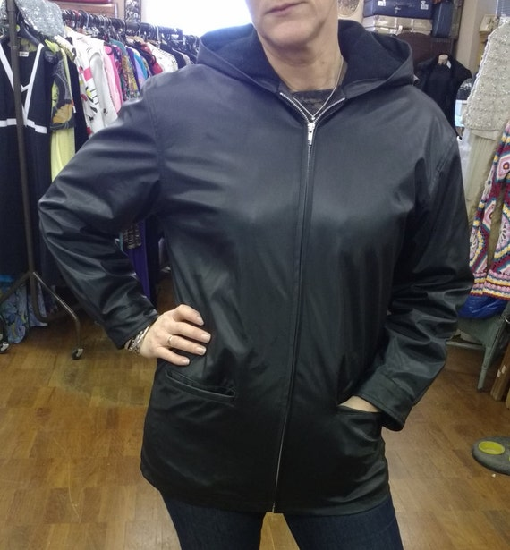 Vintage Black PVC Hooded Jacket