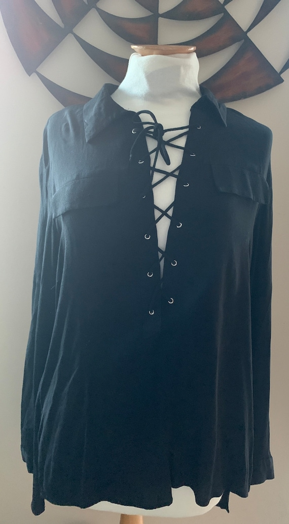 Black lace tie shirt size medium by LULU