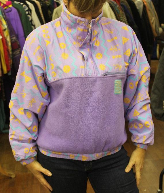 Vintage 1980's Purple Patterned Voodoo Reversible Fleece Style Jacket