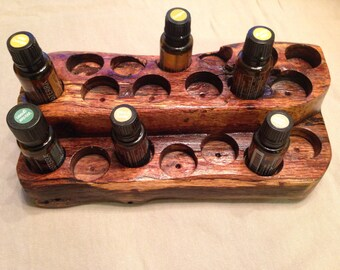 Essential oil display from repurposed urban oak lumber.