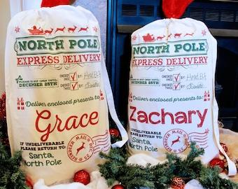 Santa Sack - Multiple Sizes - Personalized Santa Sack, Christmas Santa Sack, Santa bag, Add Your Child's Name - Santa Sack