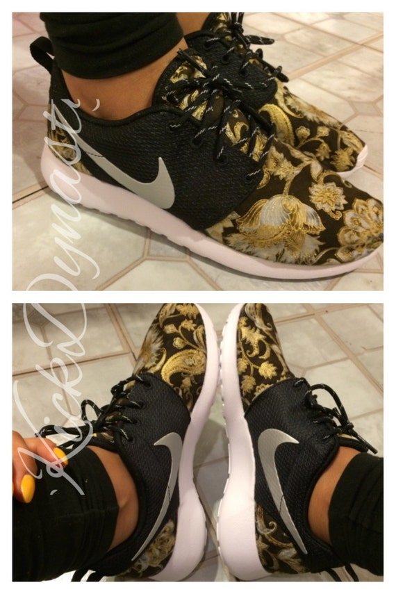 7b3fbb2c6b50 20% OFF SALE Gold Baroque Floral Nike Roshe Run Custom