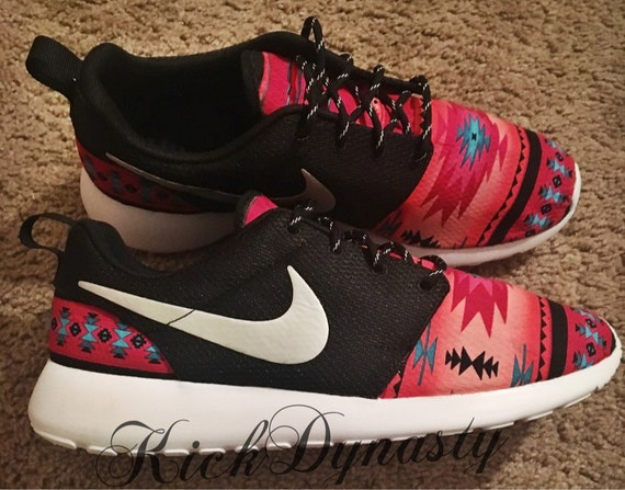 classic fit cd14d 10a9a ... where to buy tribal aztec pink nike roshe run custom sneakers etsy  12ba5 a988f