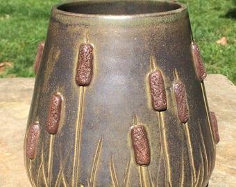 Antique Cattail Field Vase