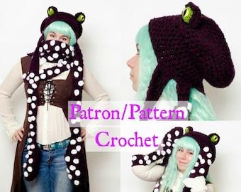 Crochet PATTERN Octopus scoodie, hat scarf mittens, Squid crochet pattern tentacle, Octopus hat crochet pattern, Steampunk kit for winter