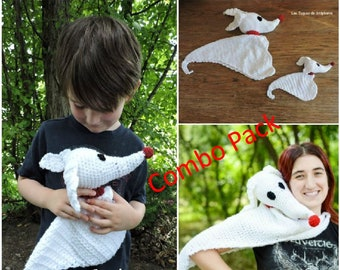 Combo Pack crochet PATTERN Zero the ghost dog blanket and plush inspired by the movie Nightmare before christmas, Zero the dog Jack friend's