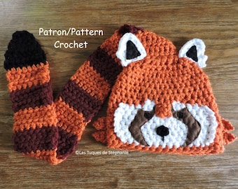 Crochet PATTERN red panda hat, the tail is used scarf, easy to do, very cute and practical