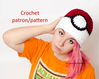 Crochet PATTERN pokeball hat, easy to do and very cute pokemon hat
