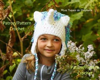 crochet PATTERN Unicorn Hat, earflap hat crochet pattern for child and adult