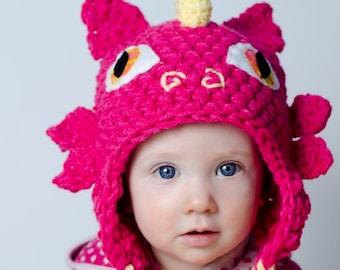 Crochet PATTERN Dragon hat, earflap crochet pattern cute baby dragon hat, fantastic medieval dragon hat