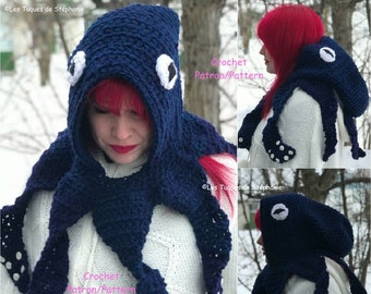 Crochet PATTERN Octopus hood, Squid crochet pattern tentacle, Octopus hat crochet pattern, Steampunk kit for winter