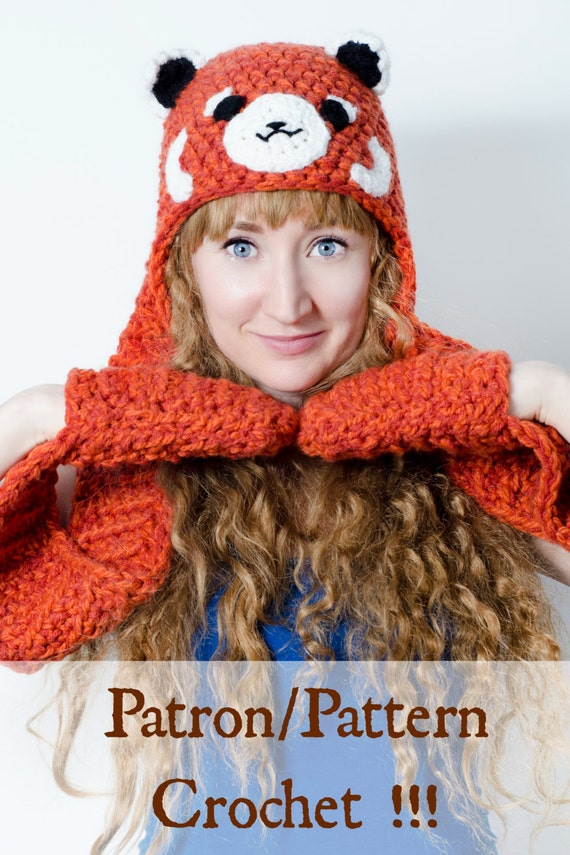 Crochet PATTERN Red Panda Scoodie for lovers of pandas and