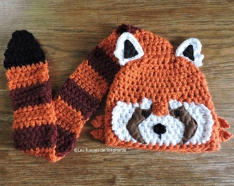 Ready-to-ship Crocheted Red Panda hat LINED white fleece and its tail serves as a scarf, child size 5-10 years cute Red Panda hat with scarf