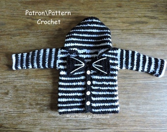 Crochet PATTERN hoodie for new born at 18 months,  two versions with bow tie and ears cats, skellington cat style, tim burton inspired