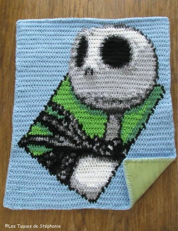 Nightmare Before Christmas Crochet Blanket.Crocheted Jack Skellington Blanket Lined White Fleece Custom Ideal For Stroller Nightmare Before Christmas Inspired Blanket For Baby