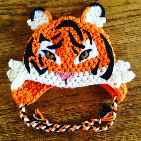 Crocheted tiger hat LINED white fleece CUSTOM wild animal hat  55fdc93adb7