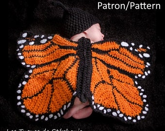 Crochet PATTERN Monarch butterfly for new born, monarch butterfly wings with hat for baby crochet pattern, blanket and hat for photoshoot