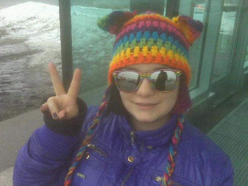 crochet PATTERN Cat Ears Hat earflap hat crochet pattern