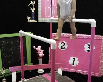 Complete Competition Gymnastic Set for American Girl Doll + Leo/Headband, Trophy! Includes All Events for a Gymnastic Meet! W/Storage!!