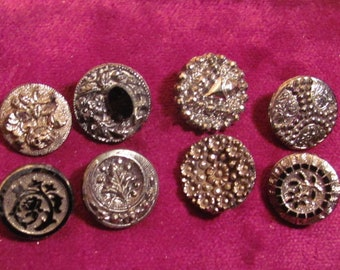 Antique Buttons 8 Victorian Black Glass Decorative Designs Geometric Floral Embossed Etched
